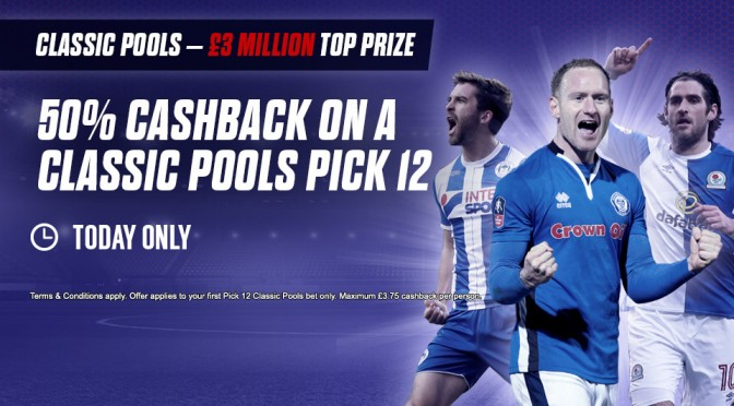 50% Cashback on a Classic Pools Pick 12